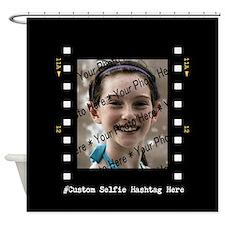 Custom Selfie Photo Frame with Hash Shower Curtain