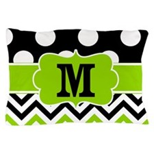 Black Green Dots Chevron Personalized Pillow Case