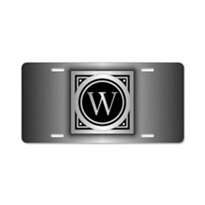 Deco Monogram W Aluminum License Plate