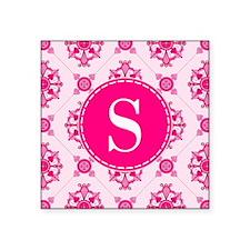 Pink Medallion Pattern Custom Monogram Sticker