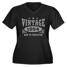 Vintage 1954 Women's Plus Size V-Neck Dark T-Shirt