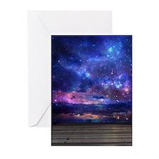 Surreal Galaxy Beach Scene Greeting Cards