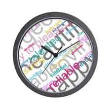 Positive Thinking Text Wall Clock