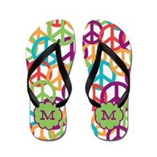 Monogram Peace Symbols Personalized Flip Flops