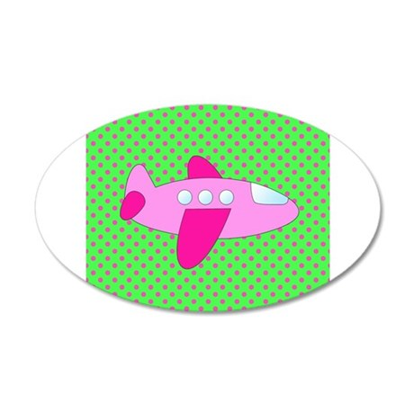 Hot Green and Pink Airplane Wall Decal