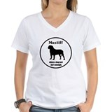 Mastiff Enough Women's V-Neck White T-Shirt
