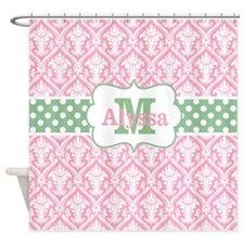 Pink Green Damask Dots Personalized Shower Curtain