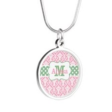 Pink Green Damask Dots Personalized Necklaces