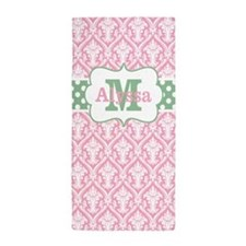 Pink Green Damask Dots Personalized Beach Towel