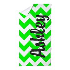 Monogram Name Neon Green Chevron Beach Towel