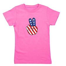 Peace USA Flag VINTAG Girl's Tee