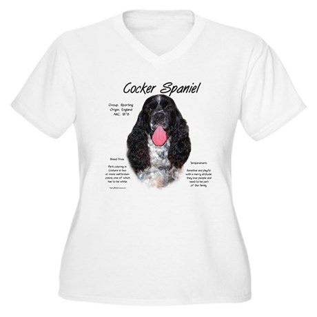 Parti b&w Cocker Spaniel Women's Plus Size V-Neck
