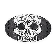 Black and white skull Oval Car Magnet