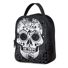 Black and white skull Neoprene Lunch Bag