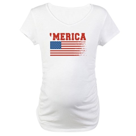 Merica Graffiti Flag 4th Of July Maternity T-Shirt