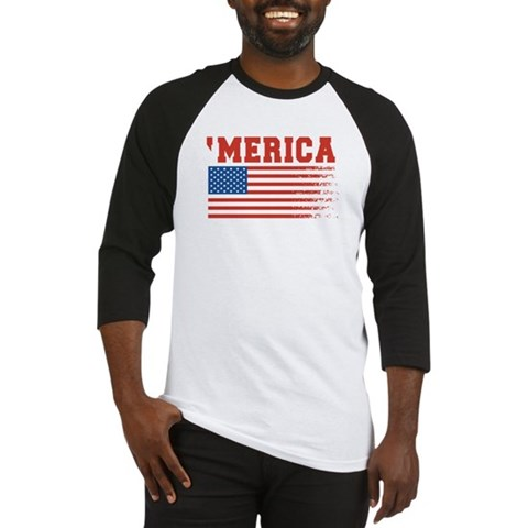 Merica Graffiti Flag 4th Of July Baseball Jersey