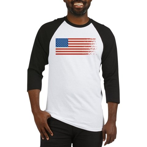 American Flag Graffiti 4th of July Baseball Jersey