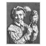 Bloemaert's Youth with owl Small Poster