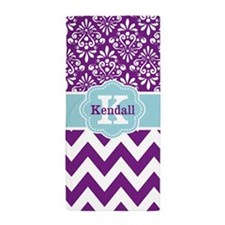 purple blue damask chevron personalized Beach Towe