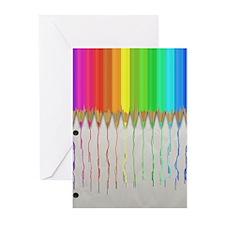 Melting Rainbow Pencils Greeting Cards (Pk of 20)