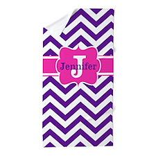 Purple Pink Chevron Personalized Beach Towel