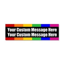 2 LINES CUSTOM Rainbow Gay Pride Car Magnet 10 x 3