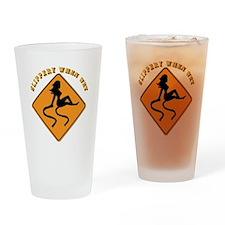 Slippery When Wet - Girl Drinking Glass
