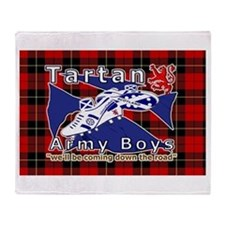Scottish Red Tartan Army Throw Blanket
