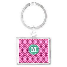 Pink Green Quatrefoil Monogram Keychains