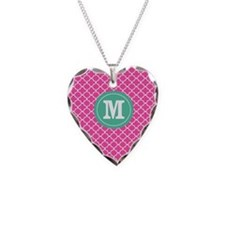 Pink Green Quatrefoil Monogram Necklace