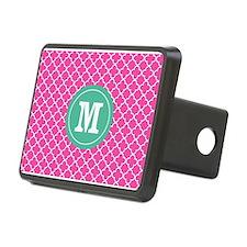 Pink Green Quatrefoil Monogram Hitch Cover