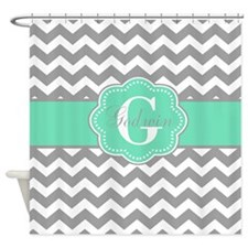 Gray Mint Green Chevron Monogram Shower Curtain