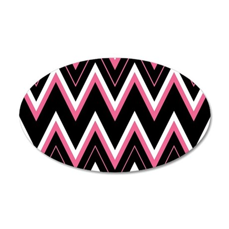 Pink Black White Chevron Pattern Wall Decal