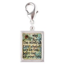 Why Hurry? Inspirational Silver Portrait Charm