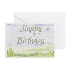 Happy Birthday Watercolour Effect Greeting Card
