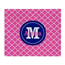 Pink Navy Blue Quatrefoil Personalized Throw Blank