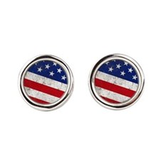 stars and stripes Round Cufflinks