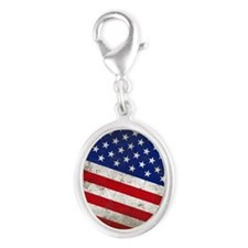 stars and stripes Silver Oval Charm
