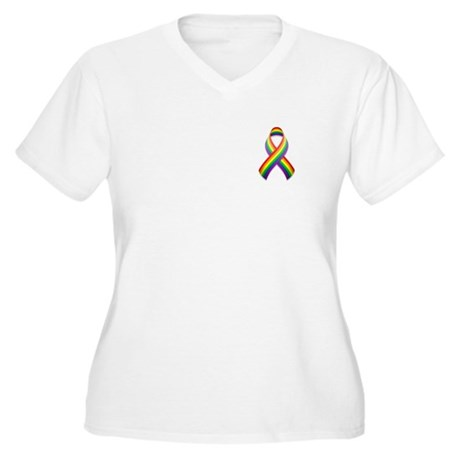 Rainbow Pride Ribbon Women's Plus Size V-Neck T-Sh