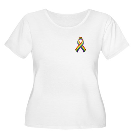 Rainbow Pride Ribbon Women's Plus Size Scoop Neck