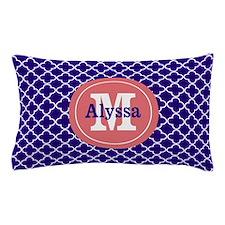 Navy Blue Coral Quatrefoil Personalized Pillow Cas