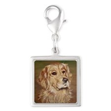 Golden Retriever Sarah Silver Square Charm