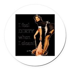 Naughty French Maid Round Car Magnet