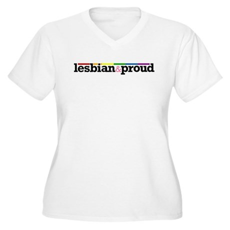 Lesbian&proud Women's Plus Size V-Neck T-Shirt