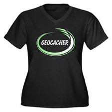 Green Geocacher Pizzaz Women's Plus Size V-Neck Da
