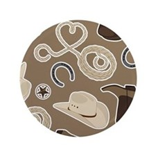 "Cute Brown Cowboy Theme Pattern 3.5"" Button"