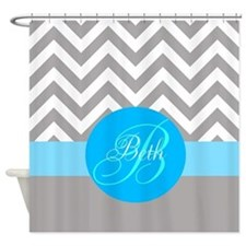 Gray Chevrons And Blue Stripe Shower Curtain