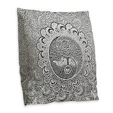 Shiny Metallic Tree Of Life Burlap Throw Pillow