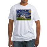 Starry Night Whippet Fitted T-Shirt