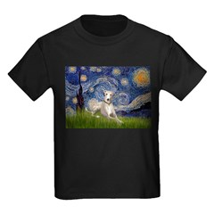 Starry Night Whippet Kids Dark T-Shirt